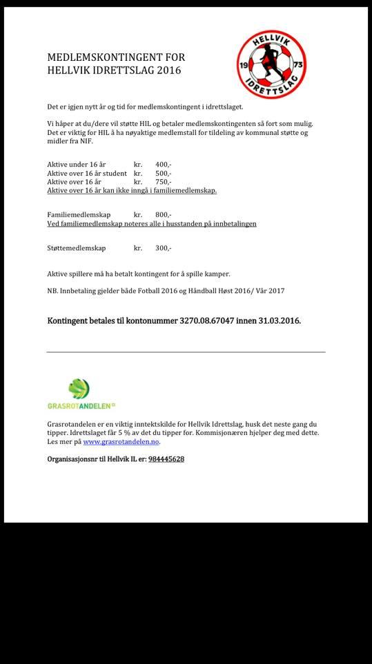 Kontingent og lisens 2016